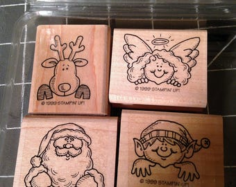 Stampin Up  Holiday Helpers 4 Piece Set  Elf Santa Rudolph Angel 1999 Hard To Find Retired rubber stamps rubber stamp set craft supplies