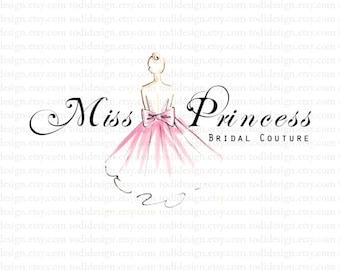 Miss Princess Bridal Couture Illustrated logo design