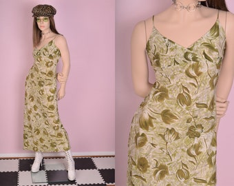 90s Floral Print Maxi Dress/ Small/ 1990s/ Tank/ Sleeveless