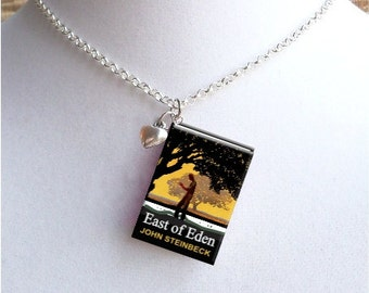 East Of Eden with Tiny Heart Charm - Miniature Book Necklace