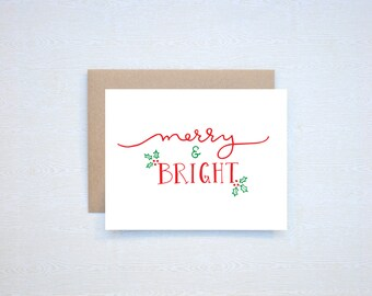 Merry & Bright Christmas Holiday Card Letterpress Printed Handlettered Calligraphy Handlettering
