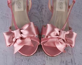 Antique Pink Wedding Shoes, Dusty Pink Wedding, Wedges, Sandal Bridal Shoes, Wedding Sandals, Bow Wedding Shoes, Custom Bridal Shoes