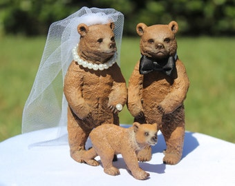 Bear Wedding Cake Topper - Mr & Mrs Bear -Family cake topper -  Bride and Groom - Rustic Country Chic Wedding