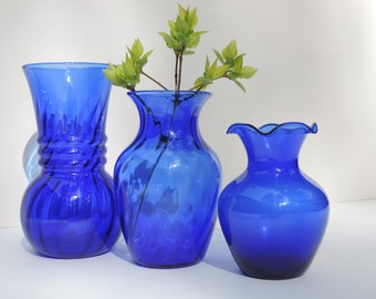 Vintage Cobalt Glass Vase Set of 3 Indiana Illusions and Anchor Hocking Cobalt Collection