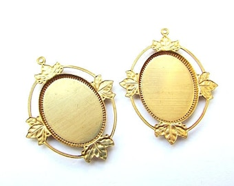 2pcs Gold Plated Cameo Setting 18 x 25 mm Cameo Setting Cabochon Setting Cameo Base Craft Supplies Jewelry making