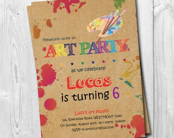 Art party Invitation, Kids art Birthday invitation, Party Invitation, Drawing invitation, printable