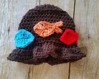 Baby Boys Fish Hat, Baby Hat, Fishing Boys Hat, Handmade Baby Hat, Crochet Infant Hat, Boys' Hat, Hat for Boys, Newborn Baby Hat, Brown Hat