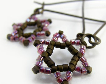 JERUSALEM star of david earrings jewish brown pink beads long brass earwires