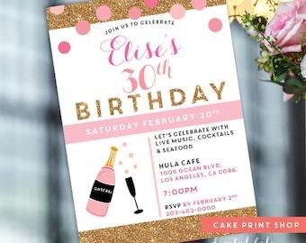 Womens 30th Birthday Invite, Printable 30th birthday, 40th, 50th, milestone birthday invite, cute 30th invite, champagne birthday invite,
