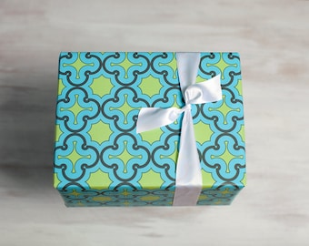 Turquoise Blue Recycled Gift Wrap, Green Modern Wrapping Paper, Eco Luxe Gift Packaging, Made in the USA, Green, Blue, Everyday Gift Wrap