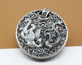 Sterling Silver Phoenix & Dragon Pendant, Hollow Round Pendant, 925 Silver Good Fortune Pendant, Love Pendant - YC630