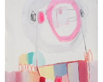 "ABSTRACT painting, fine art, giclee print, white, blue, pink, red, modern painting ""Swings and Roundabouts"""