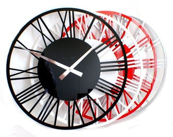 Roco Verre Gloss Acrylic Skeleton Roman Wall Clock Large