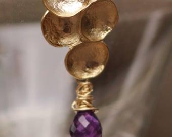 Améthyste boucles d'oreilles - Boucles d'oreilles or améthystes - fil améthyste boucles d'oreilles - violet améthyste boucles d'oreilles - violet pierres précieuses boucles d'oreilles
