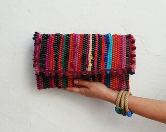Pom Pom Envelope Clutch. Boho Chic Fabric Kilim Purse. Multicolor Women's Hippie Bag. Kourelou Bohemian Clutch Bag. Unique Gift for Her.