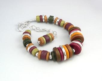 Ceramic Bracelet, Ceramic Jewelry, Adjustable Bracelet, Great Gift for Women, Artisan Jewelry, Handcrafted Beaded Jewelry, Trendy Jewelry