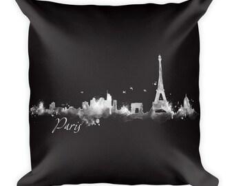 """PARIS France Watercolor City Skyline Pillow (Cover & Inserts) * Paris Art * Paris Print * Paris Skyline * Office Decor * Home Décor 18""""X18"""""""
