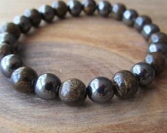 Bronzite and Hematite Bracelet, Stacking Bracelet, Men's Bracelet, Mala Bracelet, Layering Bracelet, Beaded Bracelet, Gift for Men
