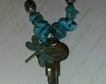 Small vintage Key necklace with Turquiose beads