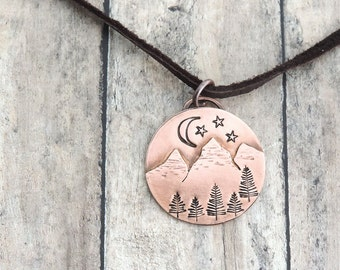 Copper Mountain Necklace - Night Sky Jewelry - Camping Gift for Her - Outdoor Jewelry - Rustic Nature Jewelry - Hiker Necklace