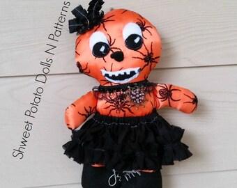 Primitive, Gothic, Pumpkin Girl  Cloth Doll, Art Doll, Halloween, Fall Doll, Spider Witch