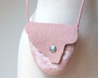 Small Felted Crossbody Bag, Blush Pink Crossbody Purse, Wool Evening Shoulder Bag