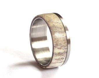 Deer Antler Wedding Ring, Mens Titanium Wedding Band, Stainless Steel Ring, Deer Antler Wedding Band