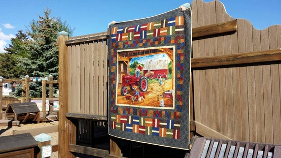 Farmall Red Tractor Quilt Kit, Vintage Style Scene With Chickens, Kittens, Ducks, Kids Doing Chores. Fabric And Pattern For Quilt Top