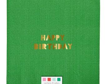 Happy Birthday Multi-Colored Napkins / Toot Sweet Napkins / Birthday Napkins / Gold Foil Napkins