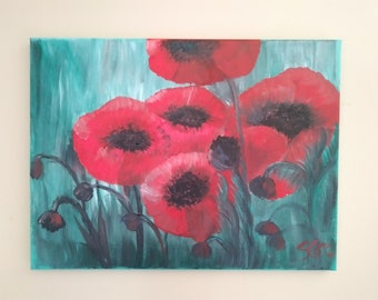 A pop of colour, original acylic painting by Susan Cere on canvas 11x14 inch inspired by my love for poppies:)