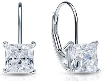 14k Gold Lever Back Princess-Cut Diamond Stud Earrings 0.50 ct. tw. (H-I, I1)