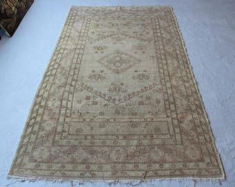 4'10''x8'3'' Vintage Oushak Rug, Handmade Turkish Carpet, Anatolian Antique Rug, Mid Century Modern Rug