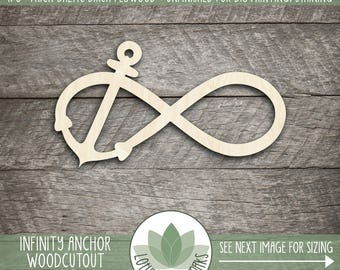Wood Infinity With Anchor Cut Out, Unfinished Wood Anchor Infinity Symbol Laser Cut Shape, DIY Craft Supply, Many Size Options