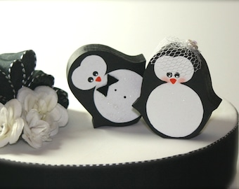 Penguins Wedding Cake Topper Penguin Winter Wedding