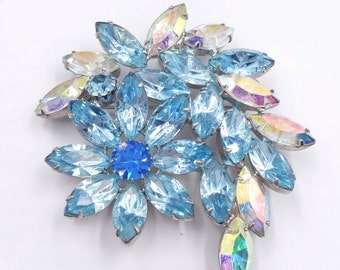 Blue Rhinestone Flower Pin, Aurora Borealis Spray Brooch, Unique Jewelry Gift, 1950's Rhinestone Brooches