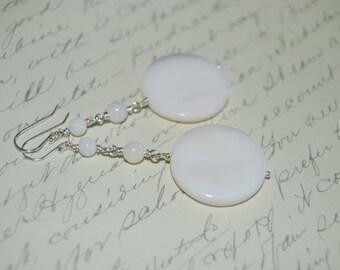 White Natural Shell Long Dangled Earrings