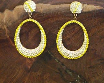 yellow rhinestone earrings, large hoop rhinestone earrings, yellow crystal earrings, yellow and clear earrings, pageant / prom earrings