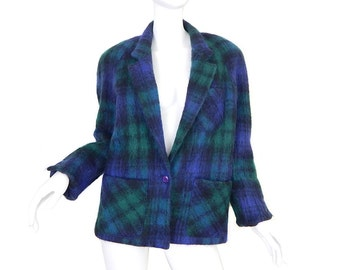 Vintage 80s Oversized Green Plaid Mohair Jacket - Size 6 - Women's Preppy Green and Blue Fuzzy Wool Short Coat - Retro Normcore Style