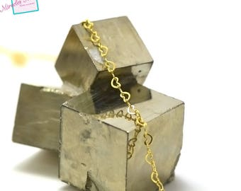 """heart"" 4 x 3 mm mesh chain dangles, gold 01"
