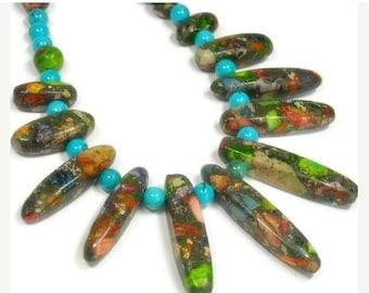 Sale| Rainbow Impression Jasper Collar Necklace - Graduated Focal Fan - Bib - Gemstone Statement Necklace - Real Turquoise - Tribal - Southw