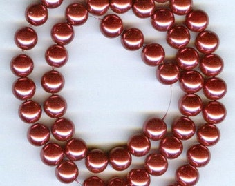 8mm Elegant Raspberry glass pearls 25 pcs