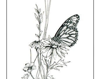 Coloring Page Flower Coloring Page Butterfly Coloring Page Floral Coloring Page Adult Coloring Instant Download Coloring Printable Coloring
