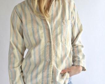 Vintage Blue Pink Cream Striped Button Down Blouse   Stripe Cotton Pajama shirt   Vertical Stripe Button Up   Classic Button Up  