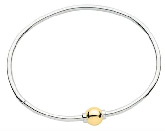 Made on Cape Cod. Bracelet with 14k Gold Screw Ball & sterling silver bangle
