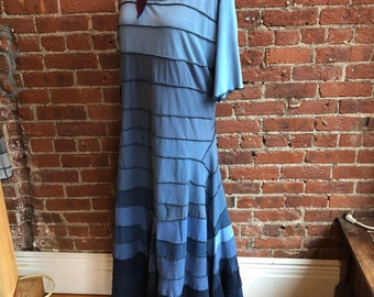 Long Cotton T shirt Dress- flamenco- Upcycled t shirt strips- denim  baby blue- size Large or extra large- long flowing-  sleeves-