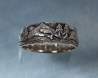 TROUT FISHING Ring in sterling silver - Mountain Fly Fishing, Pine Tree Ring, Pine, Tree Ring
