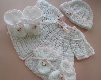 Crocheted baby sweater, crocheted baby clothes, baby sweater set, baby girl sweater, newborn to three month old baby sweater, baby booties