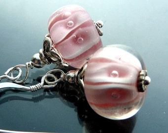Carousel Earrings in sterling silver lampwork glass bubblegum pink and white swirls closeout sale destash jewelry OOAK