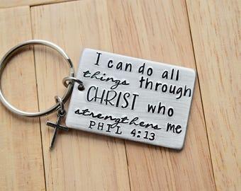 Je peux faire toutes les choses ~ Phil 04:13-clé avec croix charme ~ clair poids aluminium