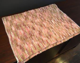 Knitted Baby Blanket, Baby Blanket, Baby Shower Gift, Baby Girl Gift, Stroller Blanket, Varigated Blanket, Hand Made Blanket, Baby Gift,